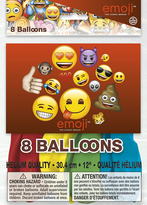 "12"" EMOJI LATEX BALLOONS  8CT"