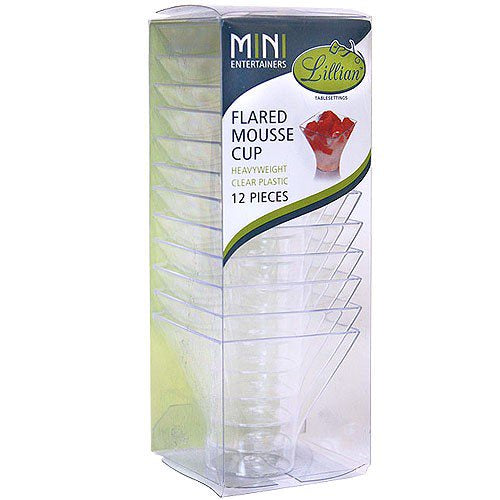 MINI CLEAR PLASTIC FLARED MOUSSE CUP 12CT