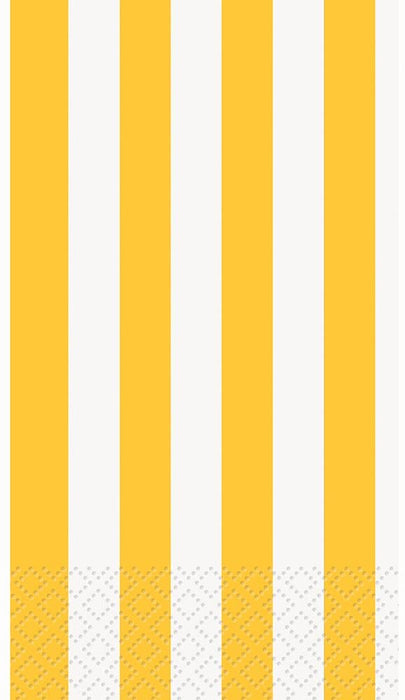 YELLOW STRIPE GUEST NAPKINS  16CT