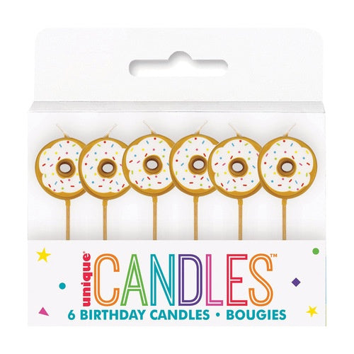 DONUT BIRTHDAY CANDLES ON PICKS 6CT