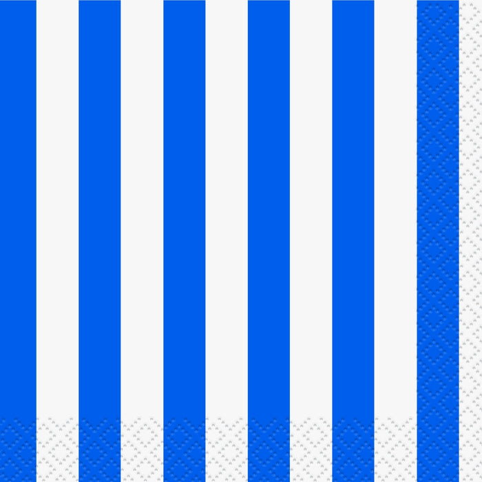 ROYAL BLUE STRIPE LUNCH NAPKINS 16CT