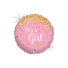 "18"" IT'S A GIRL GLITTER HOLOGRAPHIC FOIL BALLOON"