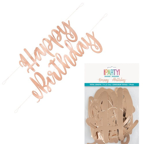 "ROSE GOLD SCRIPT ""HAPPY BIRTHDAY"" BANNER"