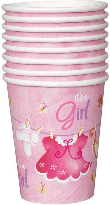 9OZ PINK ELEPHANT BABY SHOWER CUPS 8CT