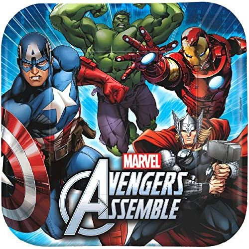 "9""  AVENGERS ASSEMBLE  SQUARE  LUNCH PLATES 8CT"