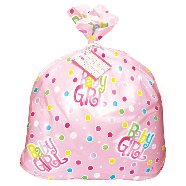 PINK POLKA DOT BABY SHOWER JUMBO CELLO BAG