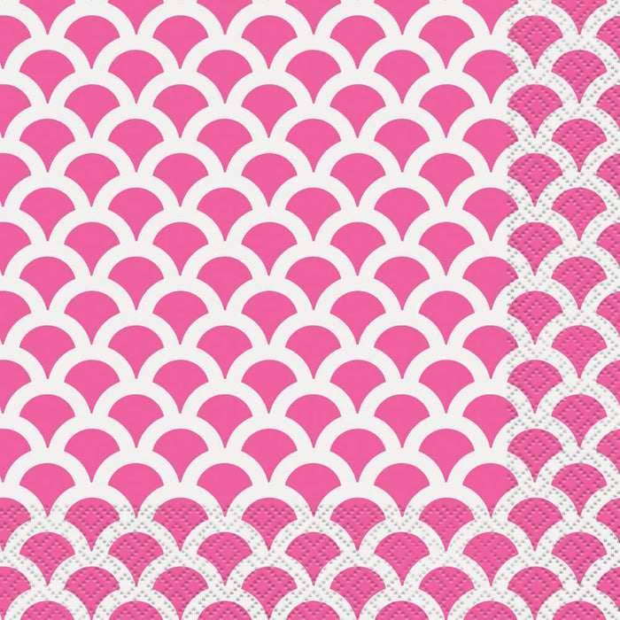 HOT PINK SCALLOP LUNCH NAPKINS 16CT