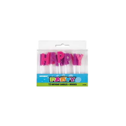 "PASTEL COLOR  ""HAPPY BIRTHDAY"" LETTER CANDLE"