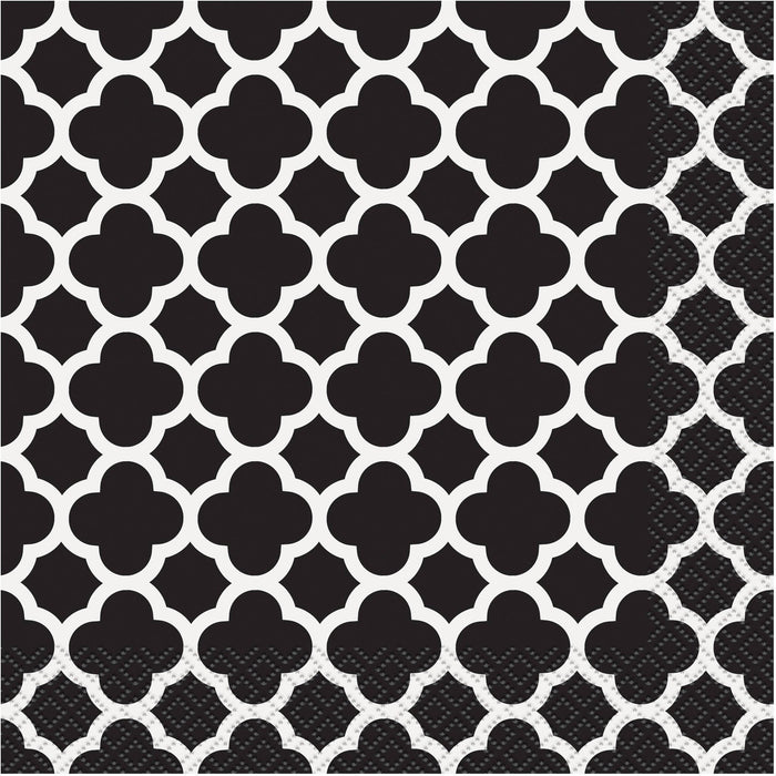 BLACK QUATREFOIL LUNCH NAPKINS 16CT