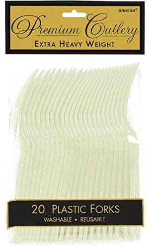 LEAF GREEN PLASTIC FORK 20CT