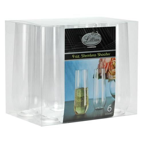 9oz CLEAR PLASTIC STEMLESS SHOOTER 6CT