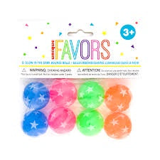 8CT GLOW IN THE DARK BOUNCE BALL FAVORS