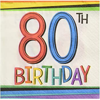 80TH RAINBOW BIRTHDAY BEVERAGE NAPKINS 16CT
