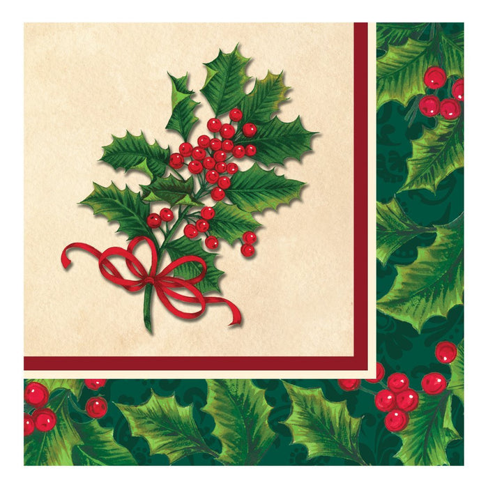 BOUGHS OF HOLLY LUNCH NAPKINS 16CT