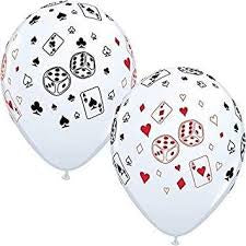 "11"" ROUND CARDS AND DICE LATEX BALLOON"
