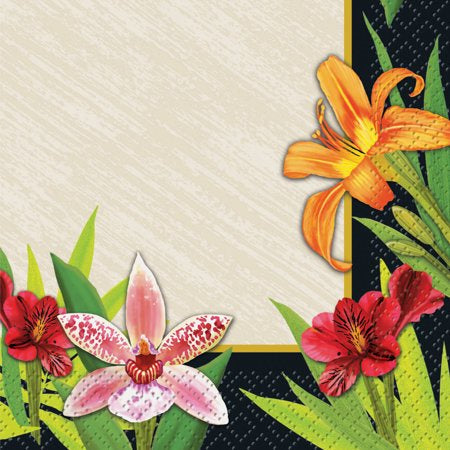 TROPICAL LILIES  BEVERAGE  NAPKINS 24CT