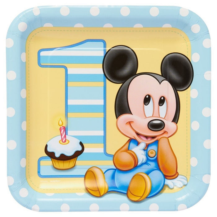 "9"" MICKEY MOUSE 1ST BIRTHDAY PLATES"