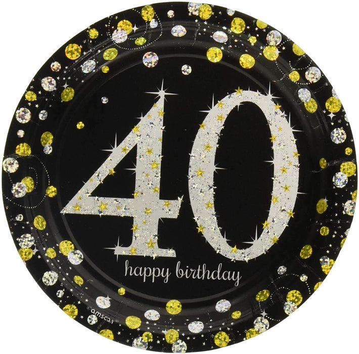 40TH SPARKLING CELEBRATION PAPER DESSERT PLATES 7""