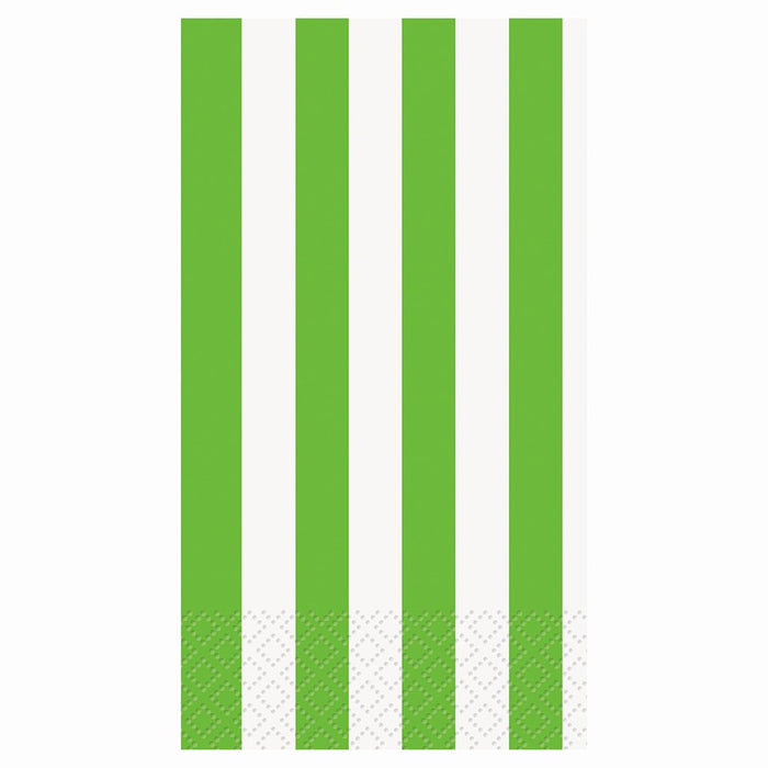 LIME GREEN STRIPE GUEST NAPKINS 16CT