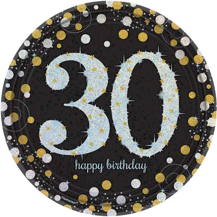30TH SPARKLING CELEBRATION PAPER LUNCH PLATES 9""