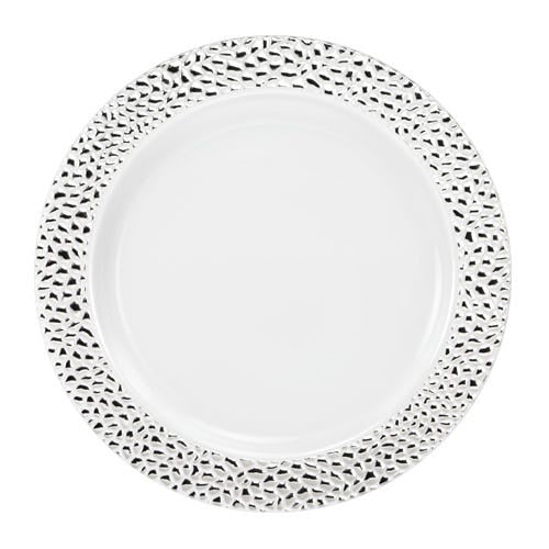 "7.5"" SILVER PEBBLED PLATE 10CT"