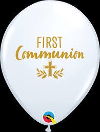 "11"" FIRST COMMUNION CROSS WHITE LATEX BALLOON"