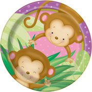 "9"" PINK MONKEY BABY SHOWER LUNCH PLATES 8CT"