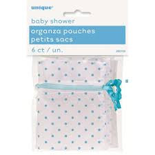 BLUE DOTS BABY SHOWER ORGANZA POUCHES 6CT