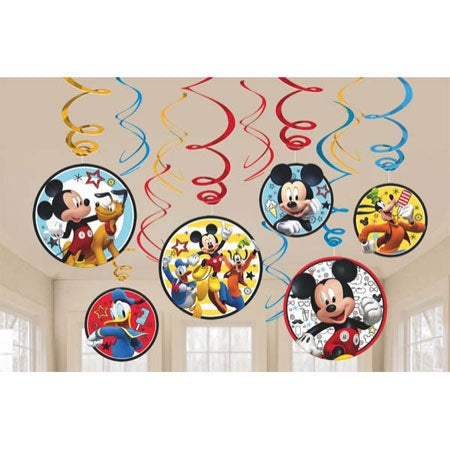 MICKEY MOUSE ON THE GO SWIRL DECORATIONS 12PCS