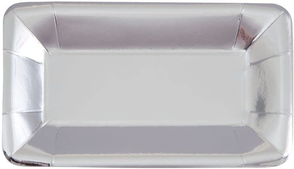 SILVER METALLIC RECTANGLE PAPER APPETIZER PLATES 8CT