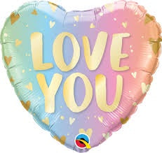 "18"" LOVE YOU PASTEL & HEARTS FOIL BALLOON"