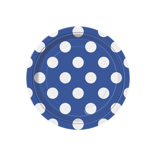 "7"" ROYAL BLUE POLKA DOTS PRINT DESSERT PLATES 8CT"