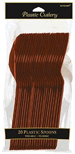 CHOCOLATE BROWN  PLASTIC SPOONS  20CT