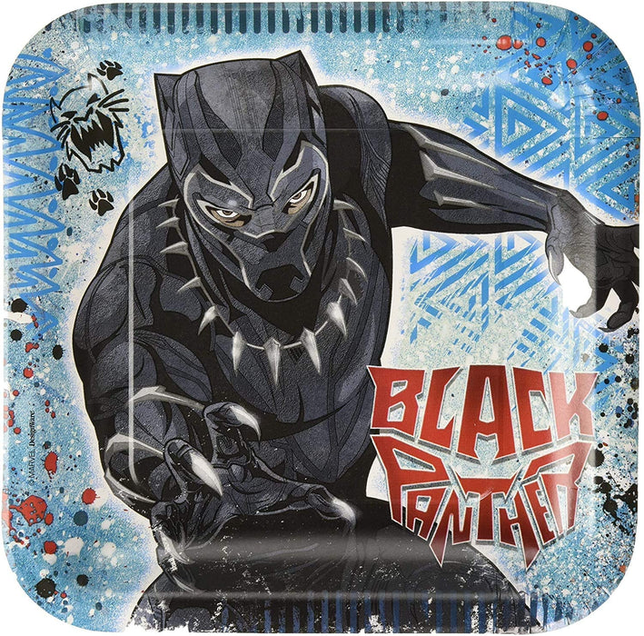 "9"" BLACK PANTHER SQUARE LUNCH PLATES 8CT"