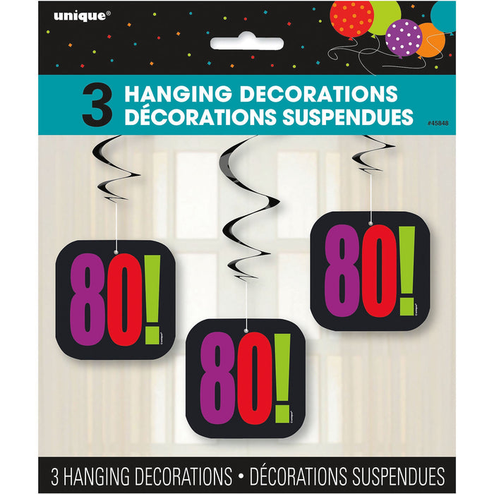 80TH BIRTHDAY CHEER HANGING DECORATIONS 3CT