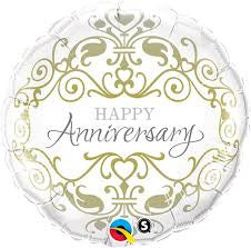 "18"" HAPPY ANNIVERSARY CLASSIC GOLD FOIL BALLOON"
