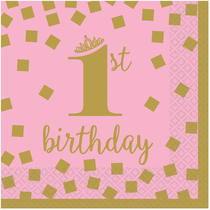 GOLD FIRST BIRTHDAY GIRL LUNCH NAPKINS 16CT