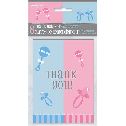GENDER REVEAL THANK YOU NOTES 8CT