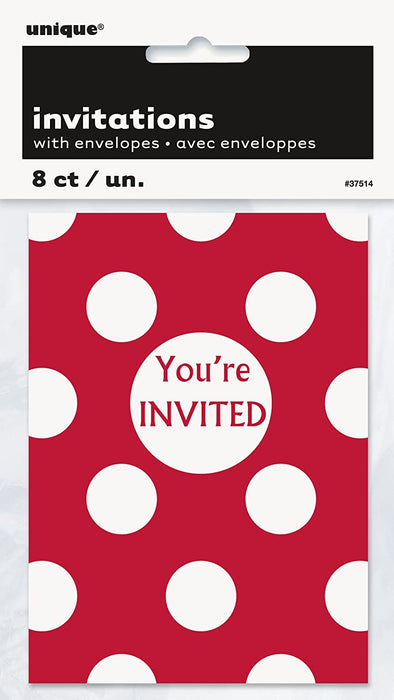 RED POLKA DOTS INVITATIONS 8CT
