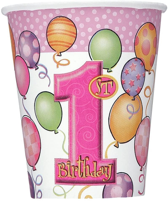 9OZ FIRST BIRTHDAY PINK CUPS