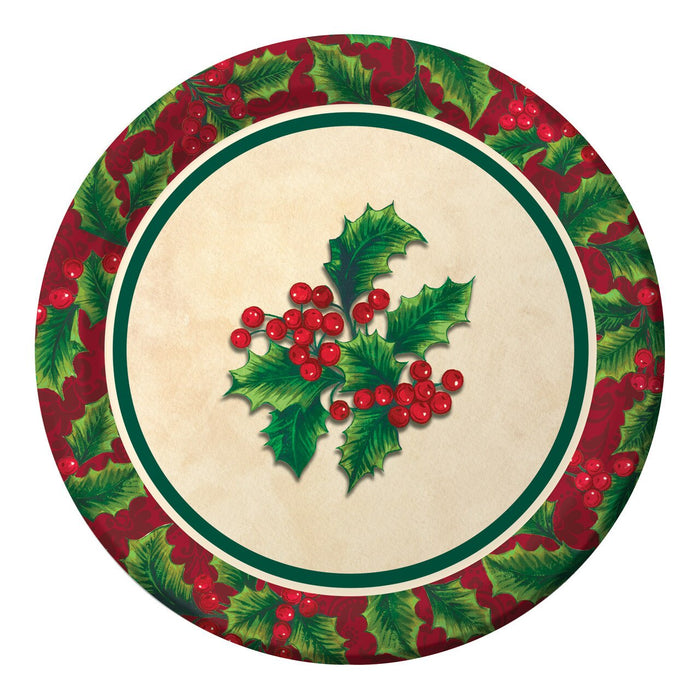 BOUGHTS OF HOLLY DESSERT PLATES 8CT