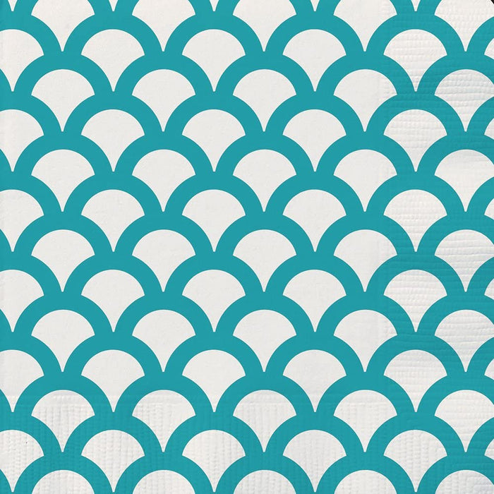 CARIBBEAN TEAL SCALLOP BEVERAGE NAPKINS 16CT