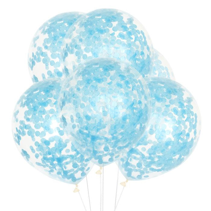 "12"" CLEAR LATEX BALLOONS WITH LIGHT BLUE CONFETTI"