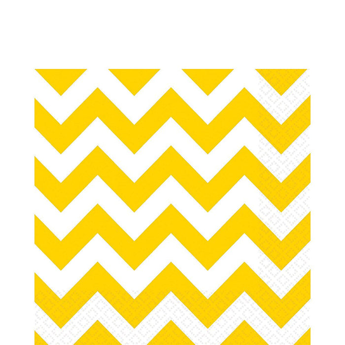 YELLOW CHEVRON BEVERAGE NAPKINS 16CT