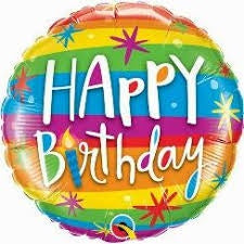 "18"" HAPPY BIRTHDAY COLORFULL LINES AND SPARKLES FOIL BALLOON"