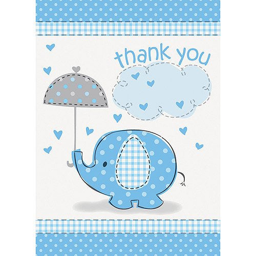 BLUE ELEPHANTS THANK YOU CARDS 8CT