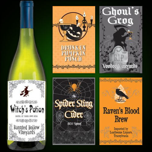 5 HALLOWEEN BOTTLE LABELS