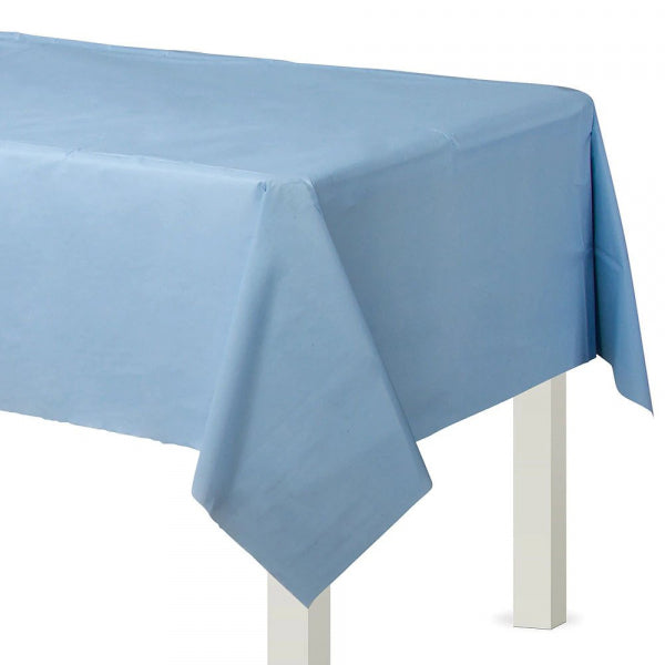 PASTEL BLUE PLASTIC RECTANGULAR TABLECOVER