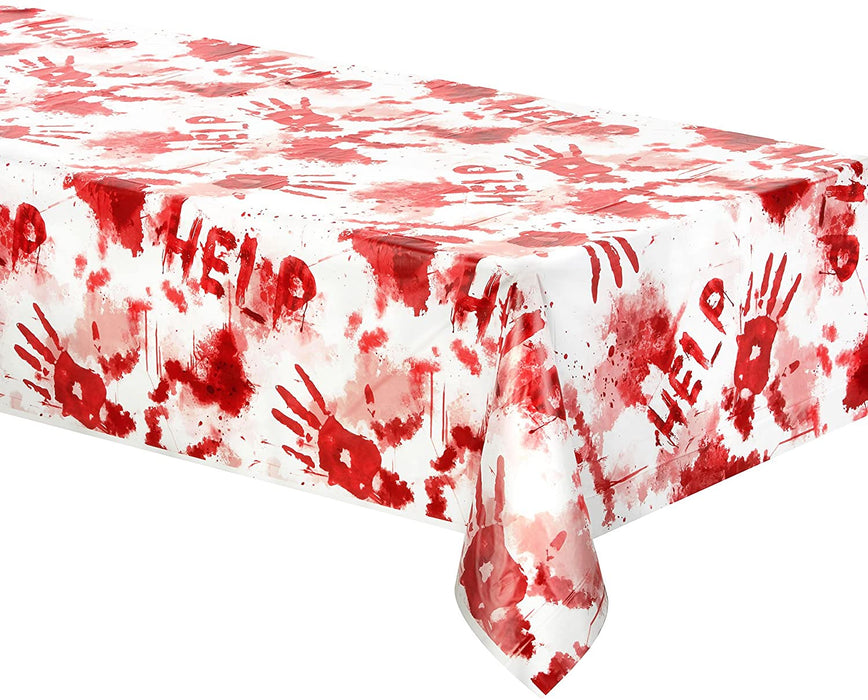 BLOODY PLASTIC TABLE COVER