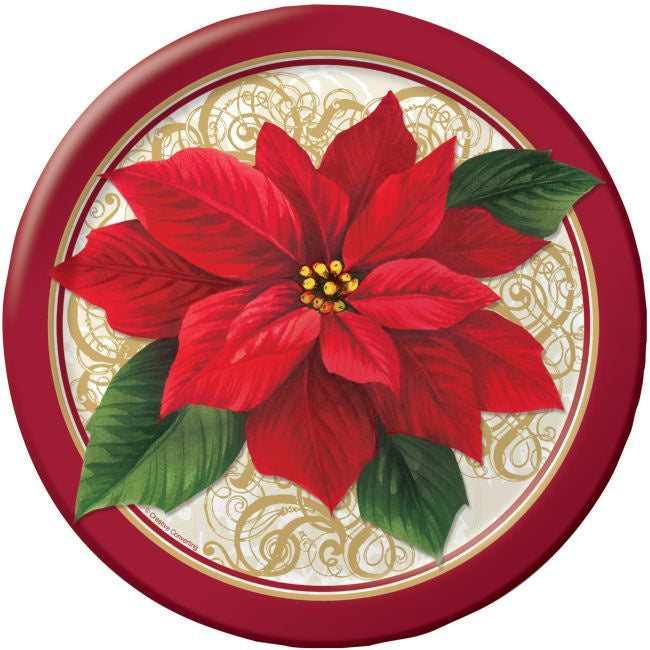 POINSETTIA LACE LUNCH PLATES 25CT